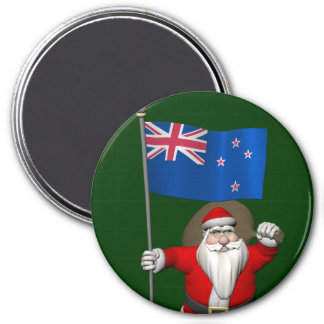 Santa Claus With Ensign Of New Zealand 3 Inch Round Magnet