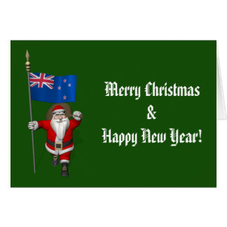 Santa Claus With Ensign Of New Zealand Card