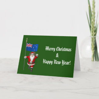 Santa Claus With Ensign Of New Zealand Holiday Card