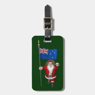Santa Claus With Ensign Of New Zealand Luggage Tag