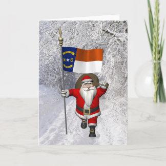 Santa Claus With Ensign Of North Carolina Holiday Card