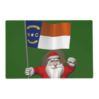 Santa Claus With Ensign Of North Carolina Placemat