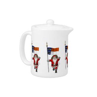 Santa Claus With Ensign Of North Carolina Teapot