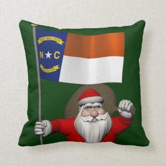 Santa Claus With Ensign Of North Carolina Throw Pillow