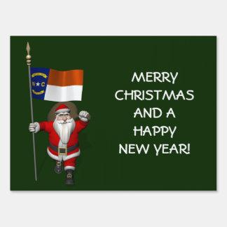 Santa Claus With Ensign Of North Carolina Yard Sign