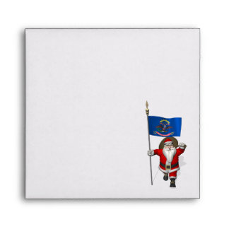 Santa Claus With Ensign Of North Dakota Envelope