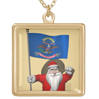Santa Claus With Ensign Of North Dakota Gold Plated Necklace