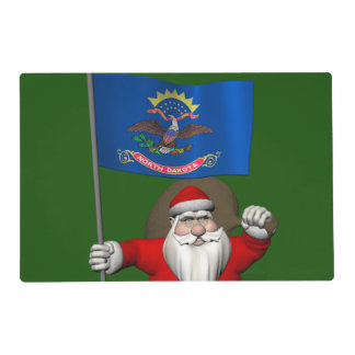 Santa Claus With Ensign Of North Dakota Laminated Place Mat