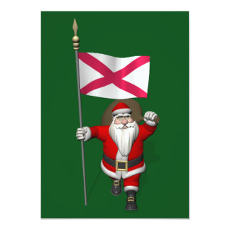 Santa Claus With Ensign Of Northern Ireland Personalized Invitations