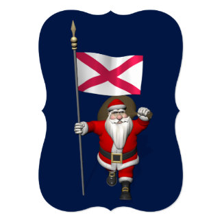 Santa Claus With Ensign Of Northern Ireland 5x7 Paper Invitation Card