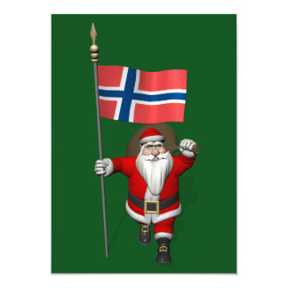 Santa Claus With Ensign Of Norway Card