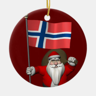 Santa Claus With Ensign Of Norway Ceramic Ornament