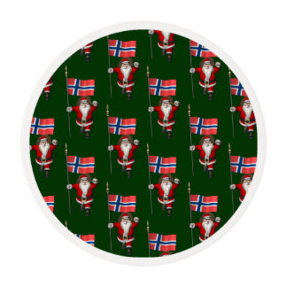Santa Claus With Ensign Of Norway Edible Frosting Rounds