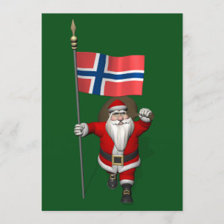 Santa Claus With Ensign Of Norway Holiday Card