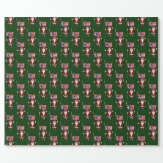 Santa Claus With Ensign Of Norway Wrapping Paper