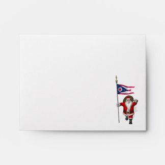 Santa Claus With Ensign Of Ohio Envelope
