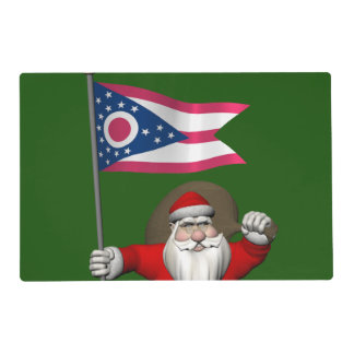 Santa Claus With Ensign Of Ohio Laminated Place Mat