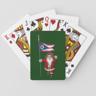 Santa Claus With Ensign Of Ohio Playing Cards