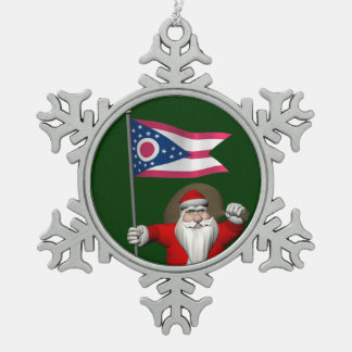 Santa Claus With Ensign Of Ohio Snowflake Pewter Christmas Ornament
