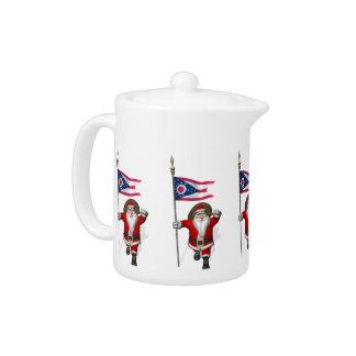 Santa Claus With Ensign Of Ohio Teapot