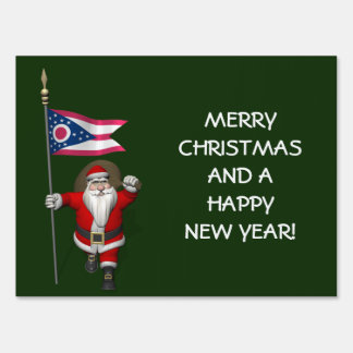 Santa Claus With Ensign Of Ohio Yard Sign