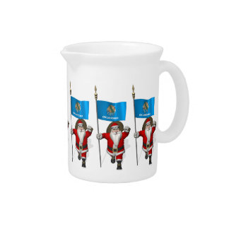 Santa Claus With Ensign Of Oklahoma Drink Pitcher