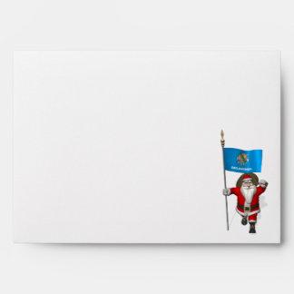 Santa Claus With Ensign Of Oklahoma Envelopes
