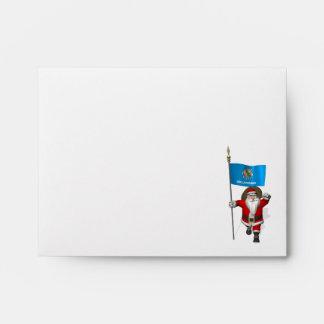 Santa Claus With Ensign Of Oklahoma Envelope