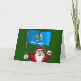 Santa Claus With Ensign Of Oklahoma Holiday Card