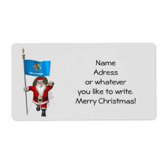 Santa Claus With Ensign Of Oklahoma Label