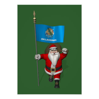 Santa Claus With Ensign Of Oklahoma Poster