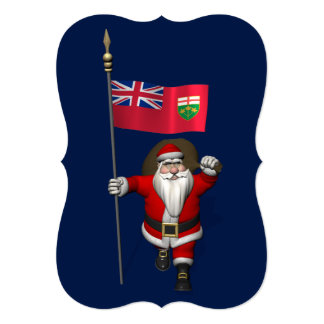 Santa Claus With Ensign Of Ontario Card