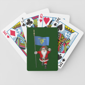 Santa Claus With Ensign Of Oregon Bicycle Playing Cards