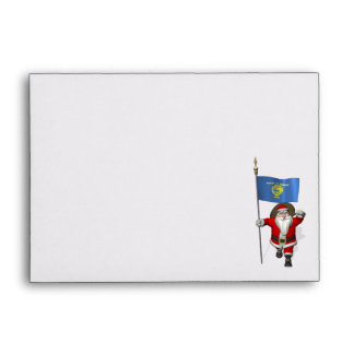 Santa Claus With Ensign Of Oregon Envelope