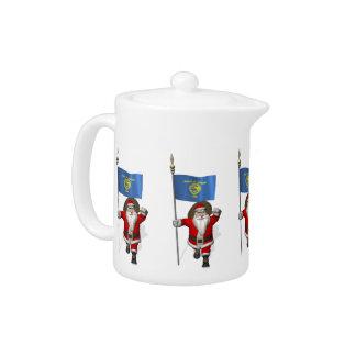 Santa Claus With Ensign Of Oregon Teapot
