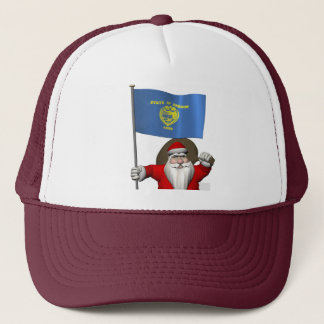 Santa Claus With Ensign Of Oregon Trucker Hat