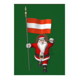 Santa Claus With Ensign Of Österreich Austria Card