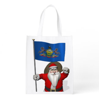 Santa Claus With Ensign Of  Pennsylvania Grocery Bag