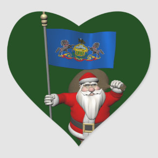 Santa Claus With Ensign Of  Pennsylvania Heart Sticker