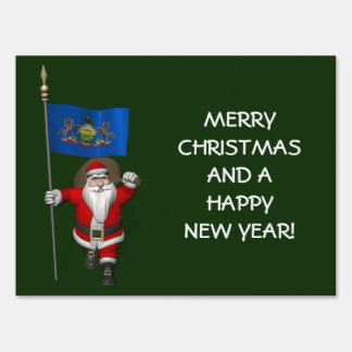 Santa Claus With Ensign Of  Pennsylvania Lawn Sign
