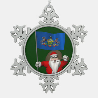 Santa Claus With Ensign Of  Pennsylvania Snowflake Pewter Christmas Ornament