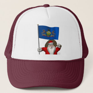 Santa Claus With Ensign Of  Pennsylvania Trucker Hat