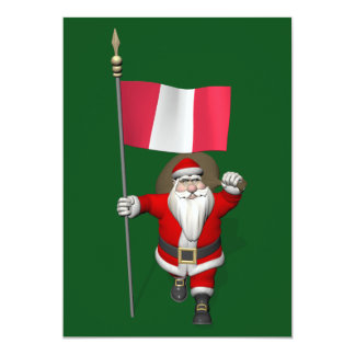 Santa Claus With Ensign Of Peru Card