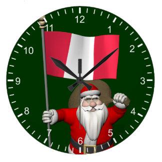 Santa Claus With Ensign Of Peru Large Clock