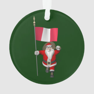 Santa Claus With Ensign Of Peru Ornament