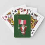Santa Claus With Ensign Of Peru Playing Cards