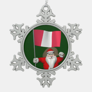 Santa Claus With Ensign Of Peru Snowflake Pewter Christmas Ornament