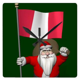 Santa Claus With Ensign Of Peru Square Wall Clock