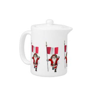 Santa Claus With Ensign Of Peru Teapot