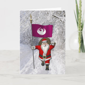 Santa Claus With Ensign Of Phoenix Holiday Card